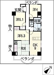 天神山マンションII号館[3階]の間取り
