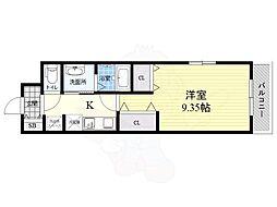 阪神本線 武庫川駅 徒歩8分の賃貸マンション 2階1Kの間取り