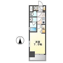 ブランシエスタ東別院 5階1Kの間取り