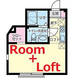 神奈川県横浜市神奈川区沢渡の賃貸アパートの間取り