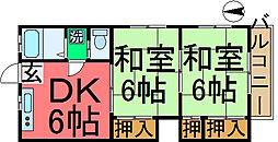 コーポ山崎[201号室]の間取り