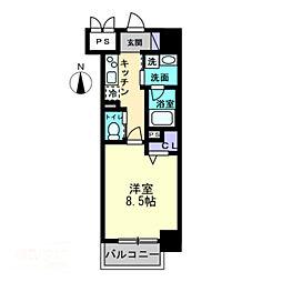 グランスクエア岡山駅西 5階1Kの間取り