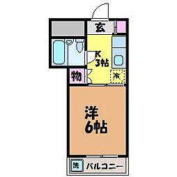 愛媛県松山市拓川町の賃貸アパートの間取り