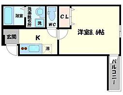 Osaka Metro谷町線 太子橋今市駅 徒歩7分の賃貸アパート 2階1Kの間取り