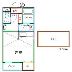 JR中央本線 武蔵小金井駅 徒歩8分の賃貸アパート 2階ワンルームの間取り