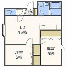 マーサ北円山A棟[2階]の間取り