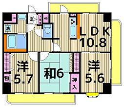 ライオンズマンション梅島第5[1201号室]の間取り