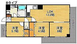 クリアクレセント住之江[7階]の間取り