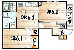 エスポワール風 B棟[1階]の間取り