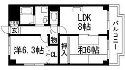 兵庫県宝塚市中筋3丁目の賃貸マンションの間取り