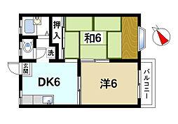奈良県奈良市左京1丁目の賃貸アパートの間取り