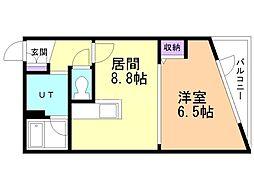 RIVERSIDE TASK KASUGA 2階1LDKの間取り
