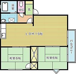 カサブランカパートI A棟[201号室]の間取り