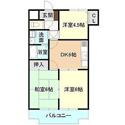 DESEO竹園[3階]の間取り