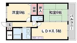 プランドール柳井 3階2LDKの間取り