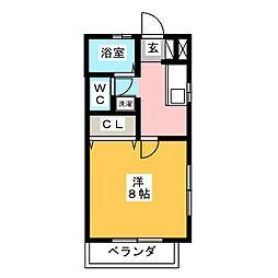 斉藤ハイツ1 1階1Kの間取り