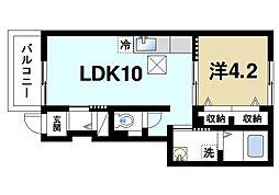 JR桜井線 長柄駅 徒歩17分の賃貸アパート 1階1LDKの間取り