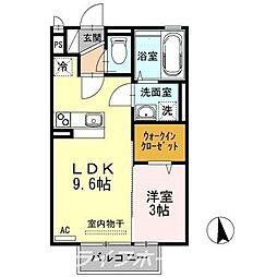 徳島県徳島市南佐古八番町の賃貸アパートの間取り