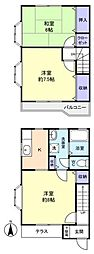 [テラスハウス] 千葉県船橋市二和西6丁目 の賃貸【/】の間取り