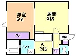 メゾン横井 1階1LDKの間取り
