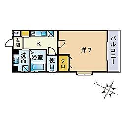 シャローム室見 3階1Kの間取り