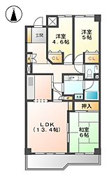 愛知県名古屋市北区城東町3丁目の賃貸マンションの間取り