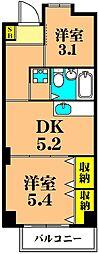 仙台坂アルカディア 4階2DKの間取り