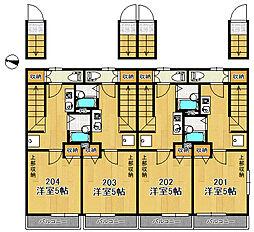 東京メトロ有楽町線 地下鉄赤塚駅 徒歩9分の賃貸アパート 2階1Kの間取り