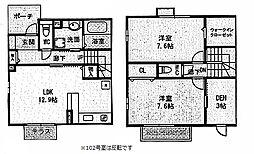 レセンテ紫峰ヶ丘F[102号室]の間取り