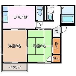 タウン島高B[2階]の間取り