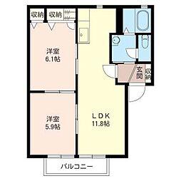 グランバリエ横倉A[1階]の間取り
