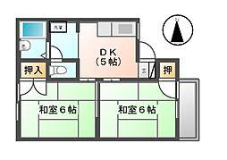 愛知県北名古屋市九之坪菰口の賃貸アパートの間取り