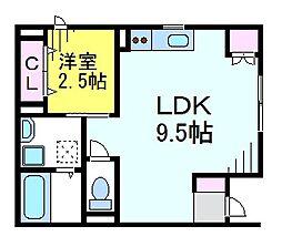 JR中央線 東小金井駅 徒歩4分の賃貸アパート 1階1LDKの間取り