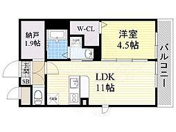 泉北高速鉄道 深井駅 徒歩32分の賃貸アパート 2階1LDKの間取り