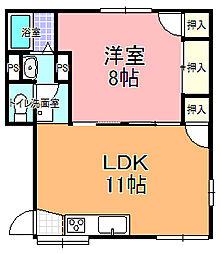 桜川グリーンコーポ B棟[202号室]の間取り