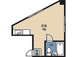 大宝野江ロイヤルハイツ 3階ワンルームの間取り