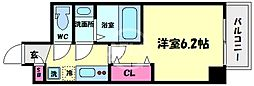 アキソレイユ本田 7階1Kの間取り