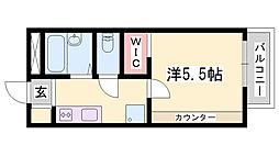 JR東海道・山陽本線 姫路駅 バス24分 山田東口停下車 徒歩3分の賃貸アパート 2階1Kの間取り