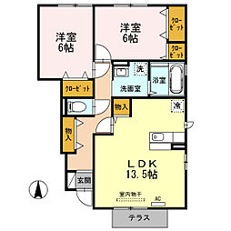 富山県富山市小杉の賃貸アパートの間取り