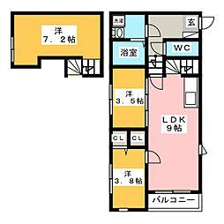 LUCE瓦田 2階2LDKの間取り