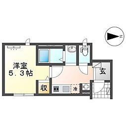 仙台市営南北線 愛宕橋駅 徒歩7分の賃貸アパート 1階1Kの間取り