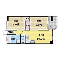 ウインズコート高井田[4階]の間取り