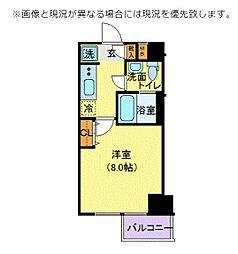 東京メトロ有楽町線 江戸川橋駅 徒歩3分の賃貸マンション 2階1Kの間取り