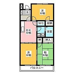 ロイヤルプラザ米山B棟[2階]の間取り