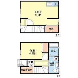 新潟県新潟市中央区本町通1番町の賃貸アパートの間取り