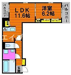 フィオーレ・タチバナ C 3階1LDKの間取り