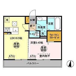 (仮)D-room人見[1階]の間取り