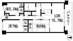 兵庫県西宮市生瀬武庫川町の賃貸マンションの間取り