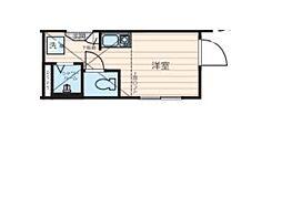 JR山手線 新宿駅 徒歩15分の賃貸アパート 2階ワンルームの間取り