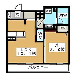 GRAND HILLS KATAKURA 1階1LDKの間取り
